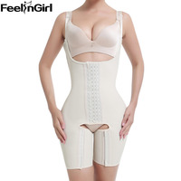 FeelinGirl Beige 100 Latex Shaperwear Bodysuit Sexy Slimming Waist Trainer Plus Size Booty Lifter Waist Training