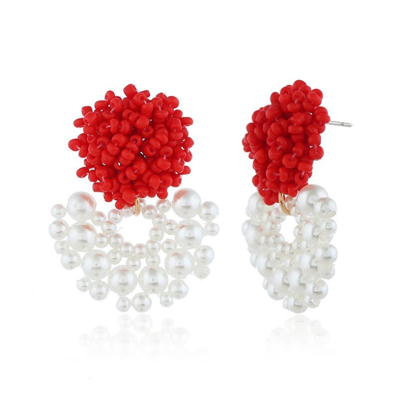 1 Pair Fashion Women Bohemian Beaded Earrings Seed Beads Handmade Faux Pearl Flower Drop Stud Earrings Wedding Party Jewelry in Stud Earrings from Jewelry Accessories