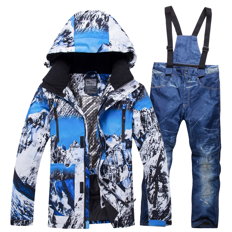 2019 New Winter Ski Suit Men Set Hot Windproof Waterproof Warm Skiing Snowboarding Suits Set Male Outdoor Hot Ski jacket + Pants