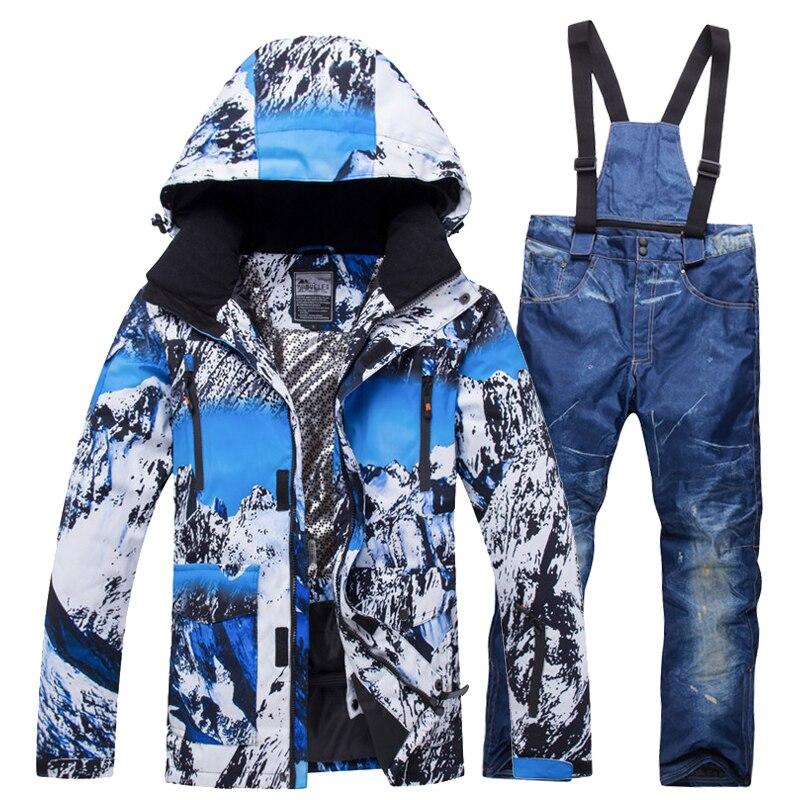 2019 nouveau costume de Ski d'hiver hommes ensemble chaud coupe-vent imperméable à l'eau chaud Ski snowboard costumes ensemble mâle extérieur chaud veste de Ski + pantalon