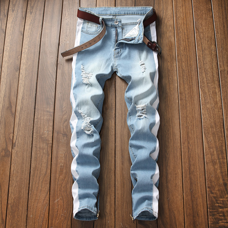 2018 Men Stretch jeans side stripe biker jeans denim ripped knee holes slim supper skinny hip hop jeans men in Jeans from Men 39 s Clothing