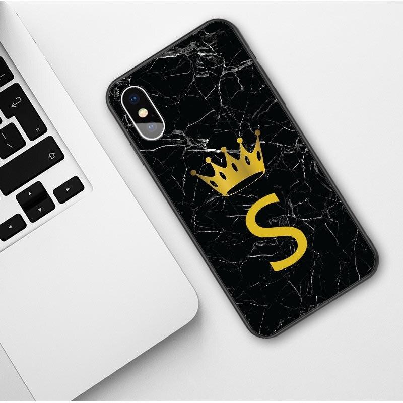 Пользовательское имя, надпись, монограмма, черный мрамор, Золотая Корона, мягкий чехол для телефона, для iphone 11 Pro Max 2019X6 6s 7 7Plus 8 8 plus XS Max XR - Цвет: TPU