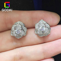 Flower Camellia Simulated Diamond Cubic Zirconia Women Engagement Silver Stud Earrings