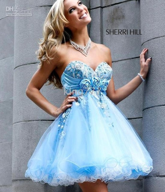 Baby blue strapless cooktail dress/evening dress/prom/party dress/Custom size NO.389