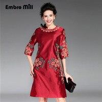 Vintage 1950s Dresses 2016 Autumn Half Sleeve European Runway Luxury Royal Slim Women Royal Embroidery Floral