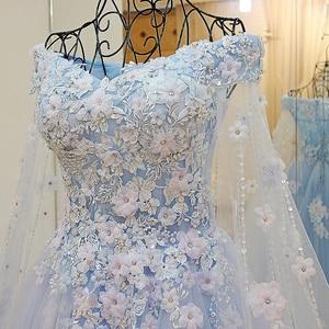 Image 5 - LS64420 Vestido azul de festa longa festa Cape Sweetheart Vestidos de festa de noite 2016 longo com flores Fotografia real 100%