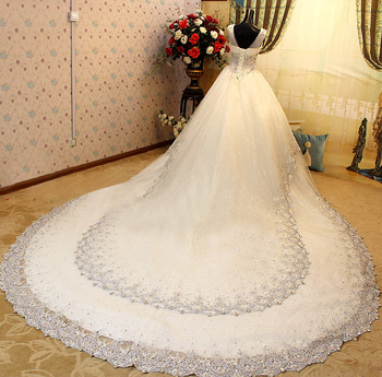 Новая Мода Кристалл Люкс Свадебное Платье 2017 Большой Поезд V-образным Вырезом Свадебное Платье Аппликации Платье De Noiva Горячая Продажа