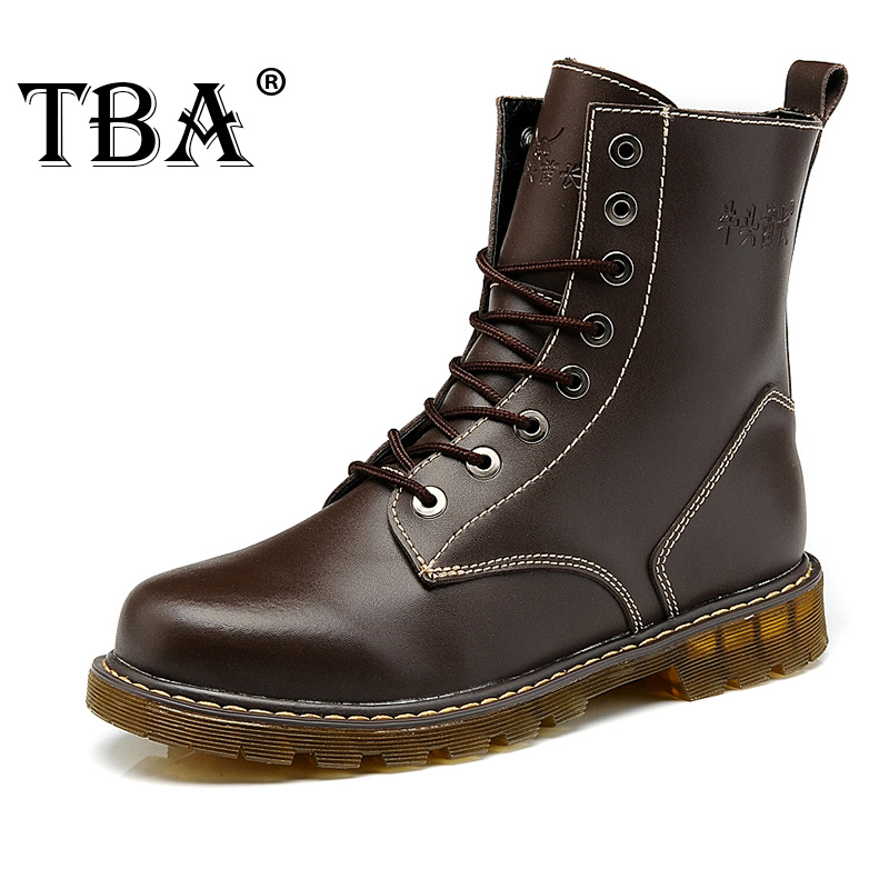 TBA Outdoor Genuine Leather Men's High-top Walking Winter Sneakers Outdoor Tooling Boots Shoes Men's Fashion Martin Boots 8068 yin qi shi man winter outdoor shoes hiking camping trip high top hiking boots cow leather durable female plush warm outdoor boot