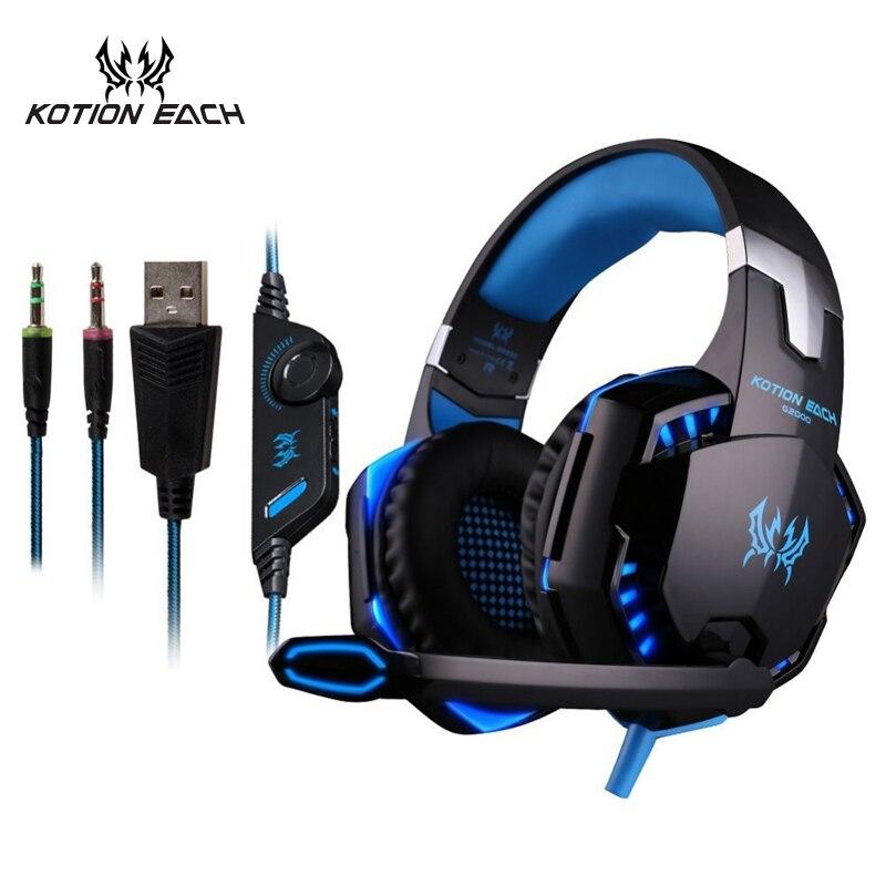 KOTION cada 3,5mm auriculares Gaming Headset Gamer PC Headphhone Gamer auriculares estéreo para juegos con micrófono Led para la computadora