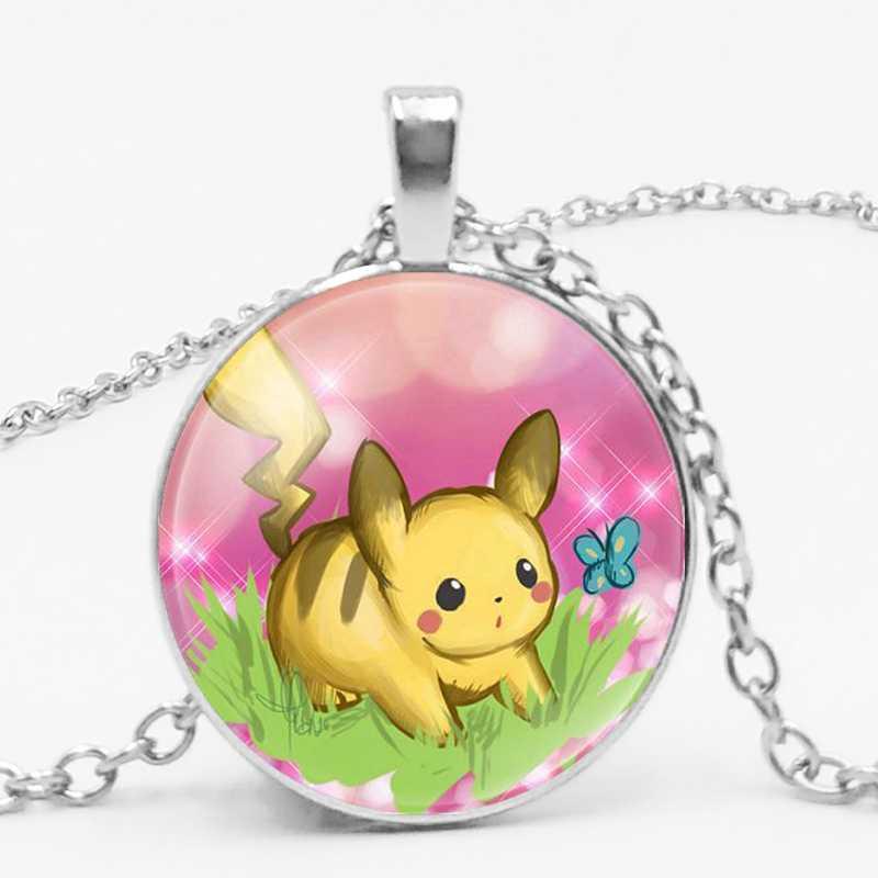 2019 dos desenhos animados anime jogo bonito pikachu pokemon charme vidro convexo redondo pingente colar jóias crianças presente de aniversário
