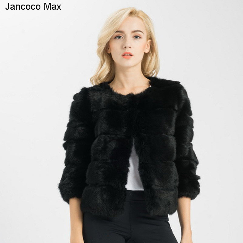 Jancoco Max 2018 Новый Для женщин с натуральным кроличьим Меховая куртка зима 3/4 рукава Высококачественная верхняя одежда мода Стиль Короткое паль...