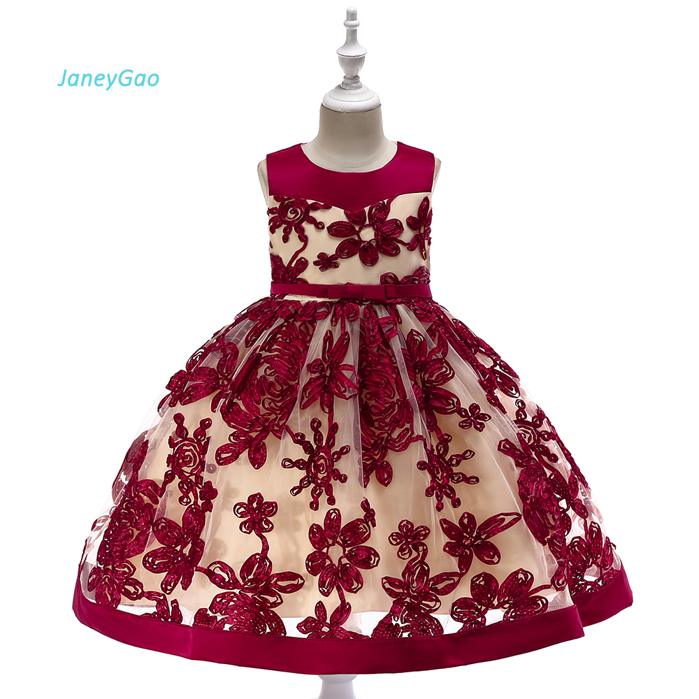 JaneyGao Flower Girl Dresses For Wedding Party Wine Red