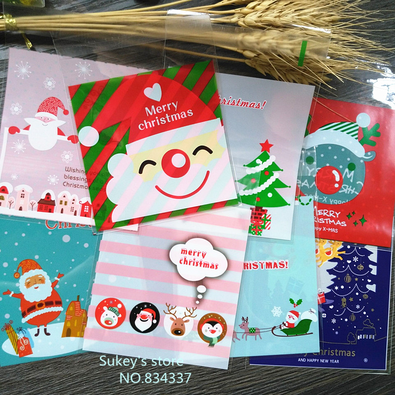 ON SALE 100pcs/lot Mixed Style Merry Christmas Plastic Bags Cookie Packaging Bag 10x10cm Self Adhesive Bags