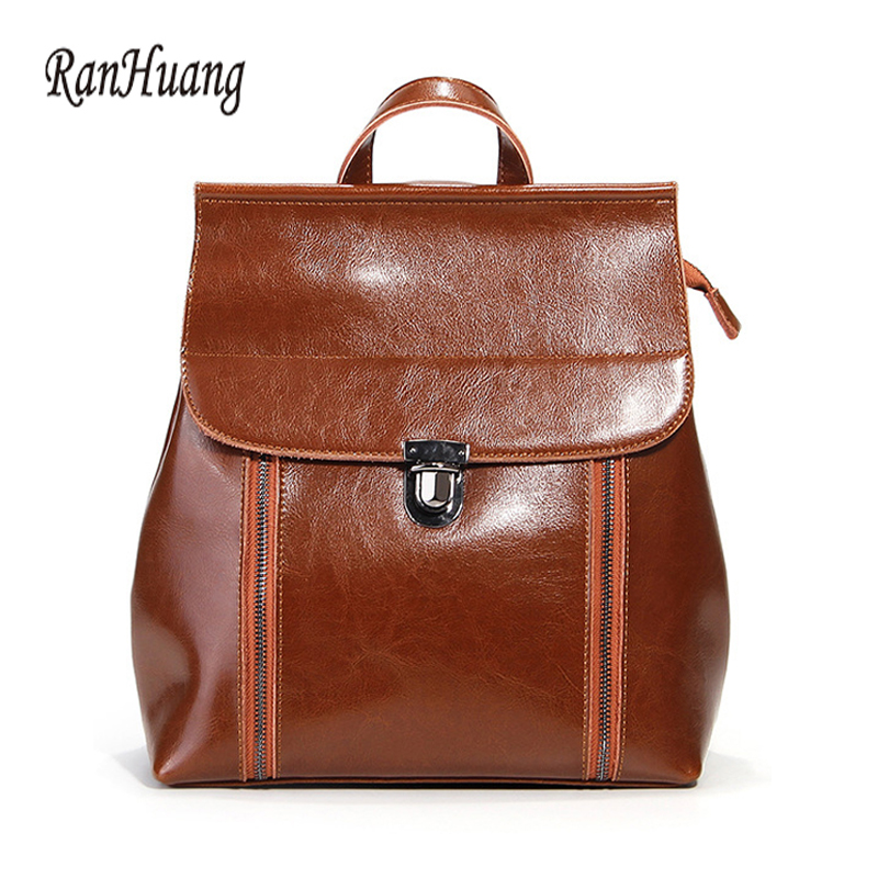 RanHuang New 2018 Women Fashion Backpack High Quality Split Leather Backpack Pretty Style Teenage Girls School