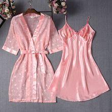 цены Women Robe & Gown Sets Thin Kimono Bathrobe + Nightdress Sleep Suit Lace Mesh Bride Bridesmaid Sleepwear Wedding Robe Nightwear