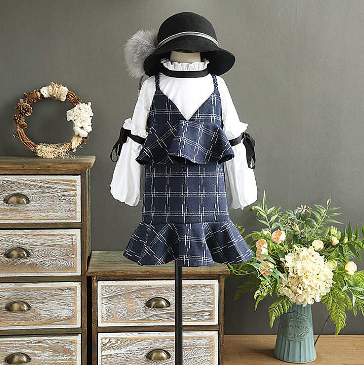 5340 Baby Girls Clothes 2017 Autumn Plaid Puff Sleeve Clothing Sets 2pcs Top + Dress, wholesale baby kids boutique clothing lots dhl equick ems shipping 6 sets girls clothing sets lots fashion kids clothing sets 2017 top jean pant 2pcs girls clothes sets