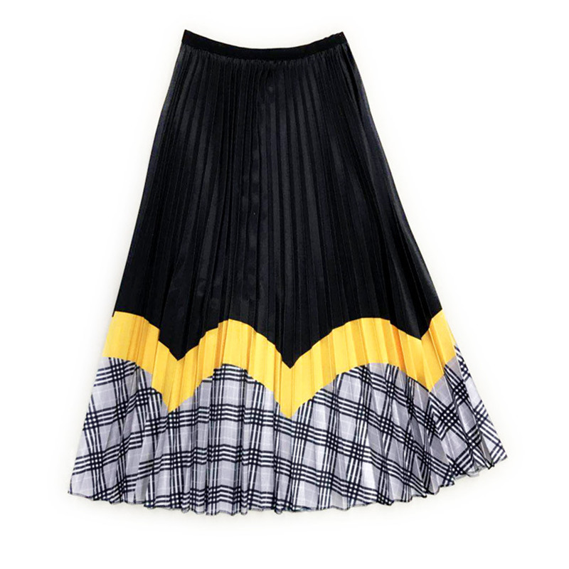New Arrivals Patchwork Pleated Skirts Women 2019 Autumn Winter High Waist Vintage Plaid Long Maxi Skirt Female in Skirts from Women 39 s Clothing