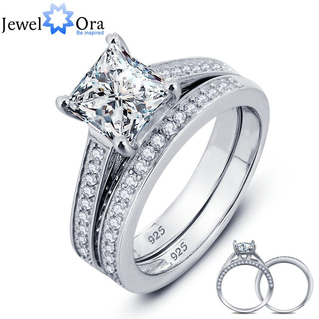 Luxurious Wedding Ring Bridal Sets 925 Sterling Silver Square Cubic Zirconia Rings For Women New 2016