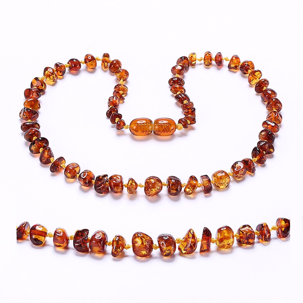 Amber Teething Necklace/Bracelet For Baby - Simple Package - Lab-Tested Authentic - 7 Sizes - 10 Colors