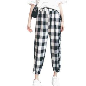 COCKCON Korean Style Women Straight Plaid Print harajuku