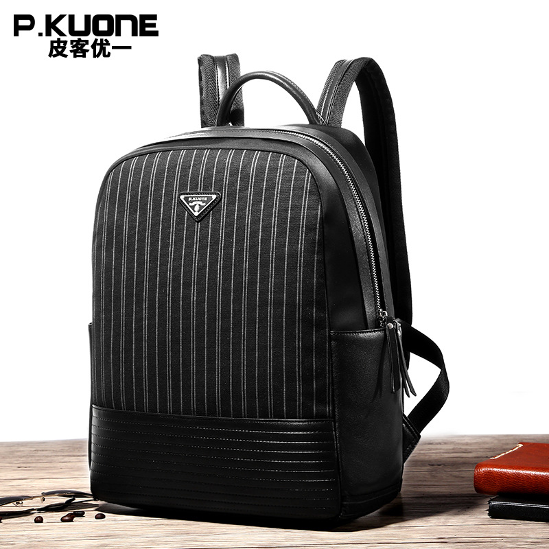 ФОТО P.KUONE Genuine Leather And Canvas Women Backpack Male Schoolbag For Teenager Girl Laptop Backpack Designer Travel Shoulder Bag