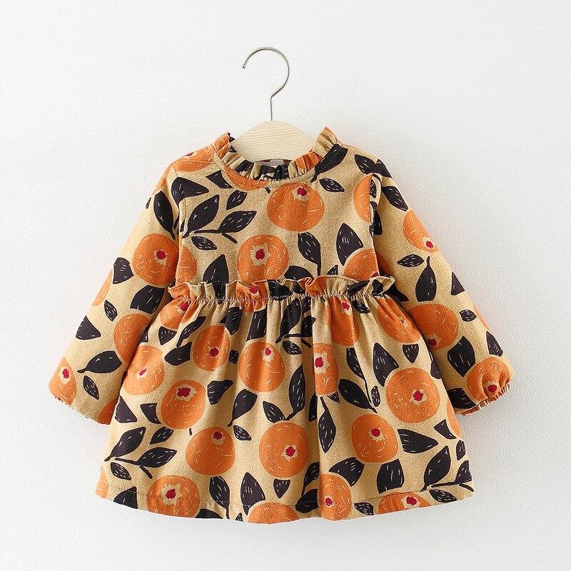 Children Autumn Winter Long Sleeve Baby Infants Girls Kids Printed Velvet Vintage Princess Party Tutu Dress Vestidos S7481