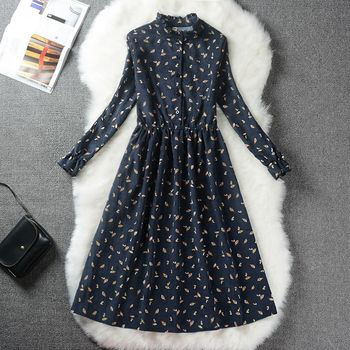 Autumn Winter Women Sweet Corduroy Dress Stand Collar Print Long Sleeve Femininos Vestidos Mori Girl Elegant Loose-Waist Dress 3
