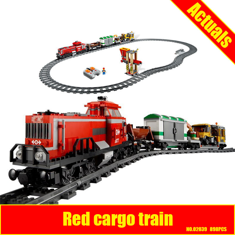 DHL LEPIN 02039 898Pcs New City Series Red Cargo Train Set Children Building Blocks Brick Educational Children Toys Model 3677 a toy a dream lepin 24027 city series 3 in 1 building series american style house villa building blocks 4956 brick toys