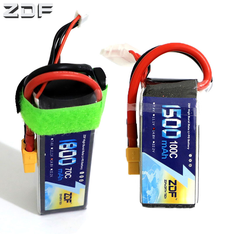 ZDF 14.8V <font><b>4S</b></font> <font><b>1500mah</b></font> <font><b>100C</b></font> max 200C 1800mah 70C max 140C <font><b>Lipo</b></font> Battery Pack with XT60 plug for RC FPV Racer image