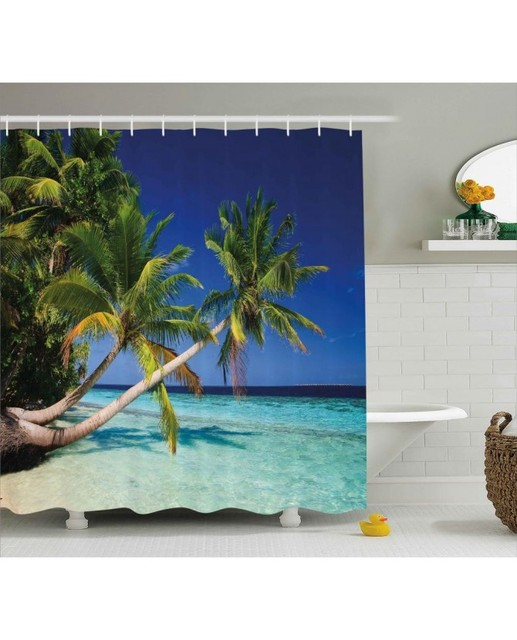 Tropical Shower Curtain Exotic Maldives Beach Print For BathroomWaterproof And Fabric Washable Set With Hooks