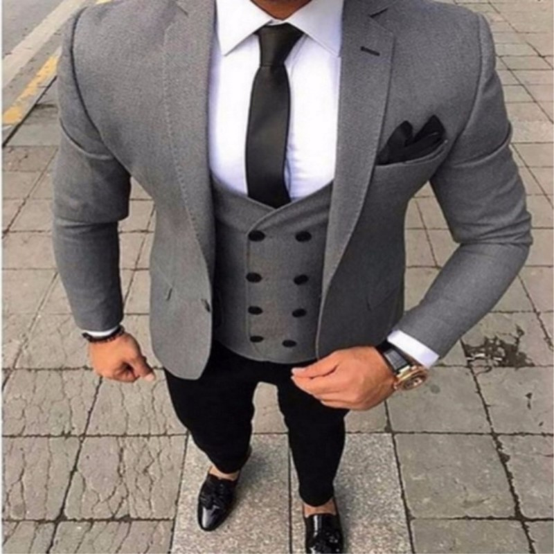 Tpsaade 2020 Brand Tailored Smoking Gray Men Suit Slim Fit 3 Piece Tuxedo Groom Wedding Suits Jacket Customized Ball Blazer 319 Suits Aliexpress