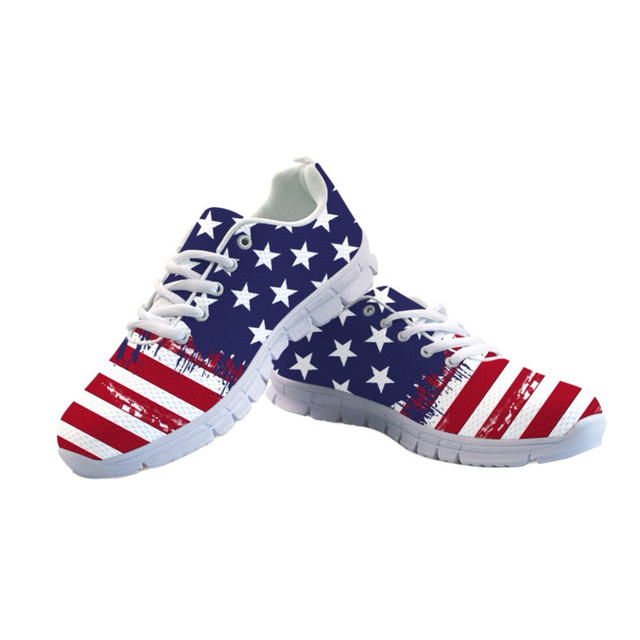 NOISYDESIGNS 3D Patriotic Men s Sneakers Flats Casual Men Shoes Fashion  Breathable Leisure Mesh Shoes for Student Comfort Shoes 8c09e805047