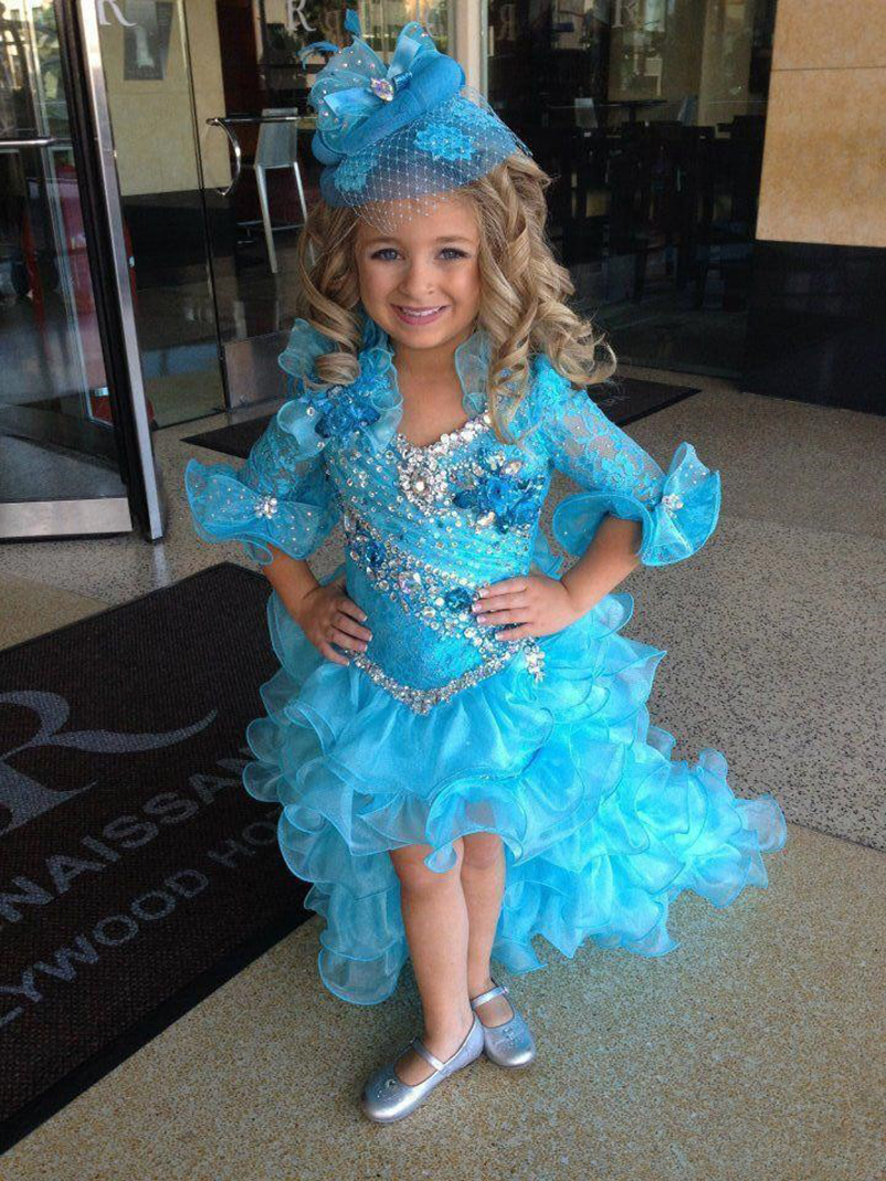 Sparly Pageant   Dresses   For   Girls   High Low Blue Kids Prom   Dresses   Organza Beads Half Sleeve Party   Dresses   for   Flower     Girl   vestido