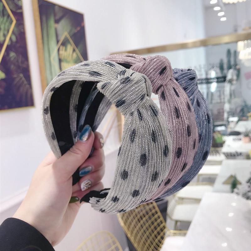 korea yarn weaving polka dot pearl
