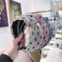 korea Yarn Weaving Polka Dot Pearl Hairbands Hair Accessories For Girls Band Bows Flower Headbands Women