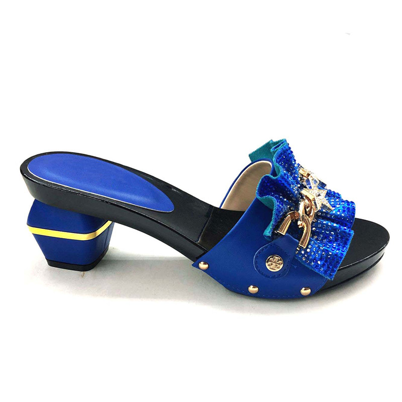 <font><b>Hot</b></font> <font><b>sale</b></font> royal blue high heel sandal shoes nice pump shoes decorated with metal decoration for party CFS4 size 37-43 image