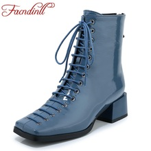 FACNDINLL new 2019 autumn winter women ankle boots square med heels genuine leather zipper black shoes woman short riding boots facndinll women boots new fashion autumn winter square high heels pointed toe zipper shoes woman dress party riding ankle boots