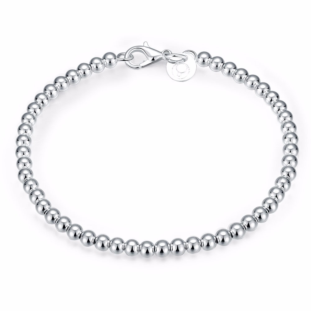 Free Shipping Whole Plated Silver Bracelet Fashion Jewelry 4mm Bean Kdh198 In Chain Link Bracelets From Accessories