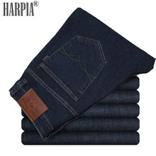 HARPIA New Men Jeans Pants Mens Casual Denim Trousers Male Classic Cowboy Long Pants Man Micro-elastic Dark Blue Straight Jeans