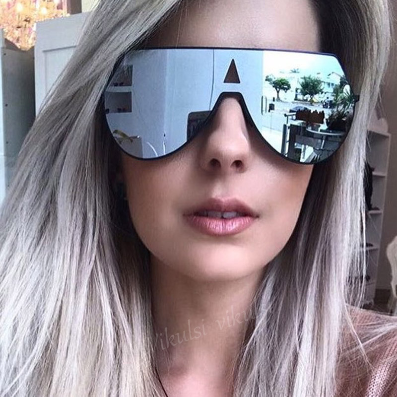 2017 Oversized Shades Square Steampunk Sunglasses Women Brand Designer Cool Men Flat Top Sun Glasses Integrated Clear Glasses