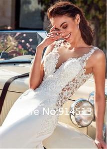Image 3 - Seksi Mermaid Sweetheart kolsuz düğün elbisesi 2020 aplikler dantel beyaz fildişi şifon prenses gelinlik Vestido De Noiva