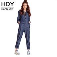HDY Haoduoyi Moda de Invierno Otoño Mono de Las Mujeres de Manga Larga Camisa de Mezclilla Femenina Del Mono Flojo Del Azul de Las Señoras Jeans Monos