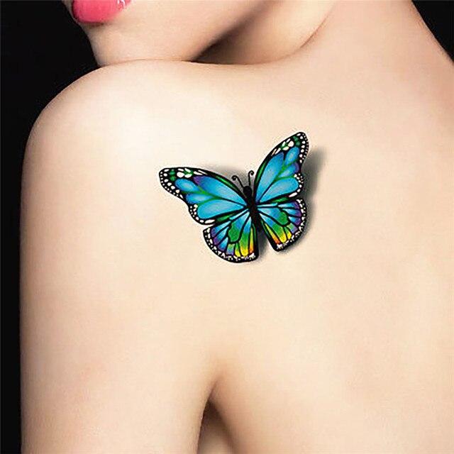 5 Piezas 3d Flor Voladora Mariposa Pegatinas De Tatuaje Impermeable