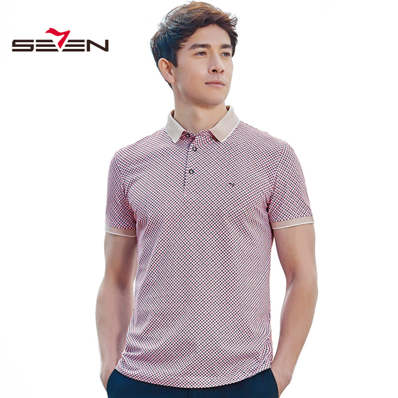Seven7 Luxury Brand Mens Polo Shirt Slim Fit Cotton Vintage Short Sleeve Summer Plaid Bu ...