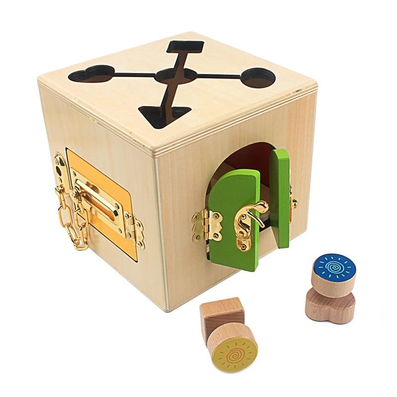 Montessori enseignement multifonction serrure boîte ensemble bébé apprendre à débloquer l'éducation précoce jouets pratique vie compétence jouet garçons filles - 2
