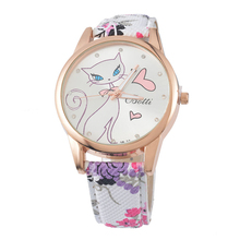 Beautiful Cute Cat Watches Womens Women Floral Print Leather-based Quartz Wristwatches , Pink Purple