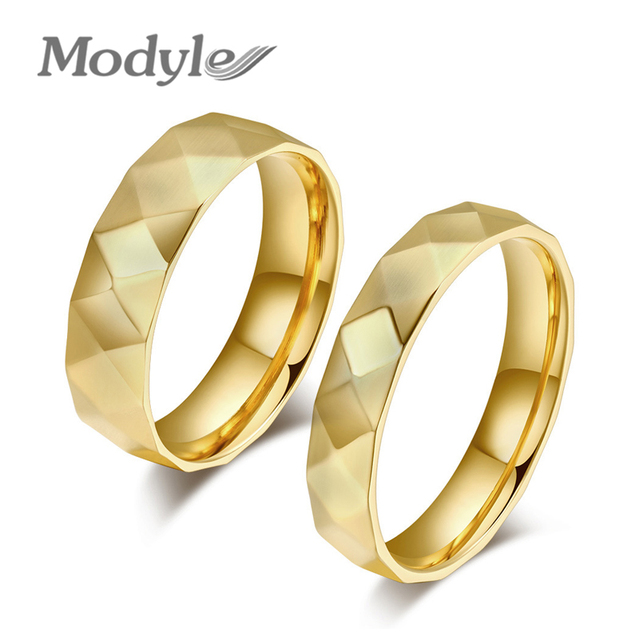 Fashion Couple Rings Korean Couple Wedding Rings Jewelry Gold Rings