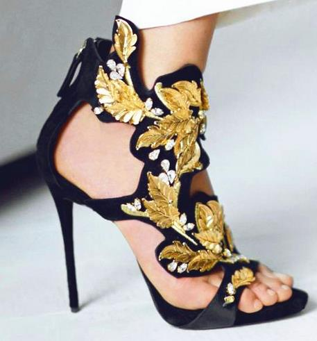 Summer Fashion Gorgeous Women Sandal Shoes CRYSTAL GOLD LEAVES Embelished Thin Heel Dress Sandals with Peep Toe Free Shipping