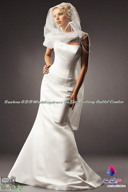 2012A+++New Design!!Elegant Strapless Satin Mermaid Gown with Low Back and Radiant Swarovski Crystals Beaded Band Wedding Dress
