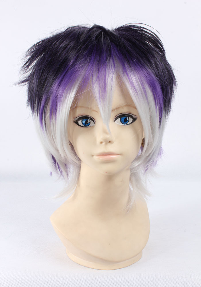 Quality Thick Short Wavy Black White Mix Purple Ombre Wig